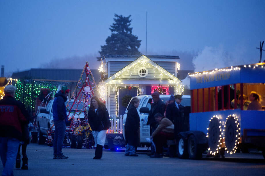 Parade participants line up before the start of the Coleman holiday parade on Saturday. Photo: NICK KING   Nking@mdn.net