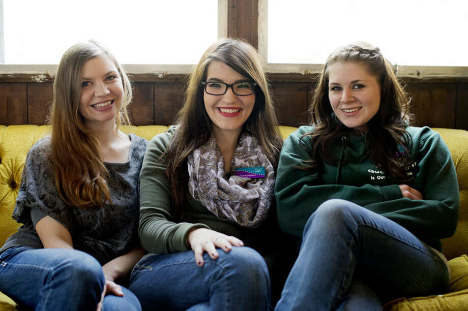 Jordanne Maxwell of Sanford, from left, Maddison Schearer of Midland and Trista Bliss of Midland sit at Schearer's home. Maxwell is the secretary of events for Events with a Cause, an effort founded by Schearer. Photo: Neil Blake/Midland Daily News