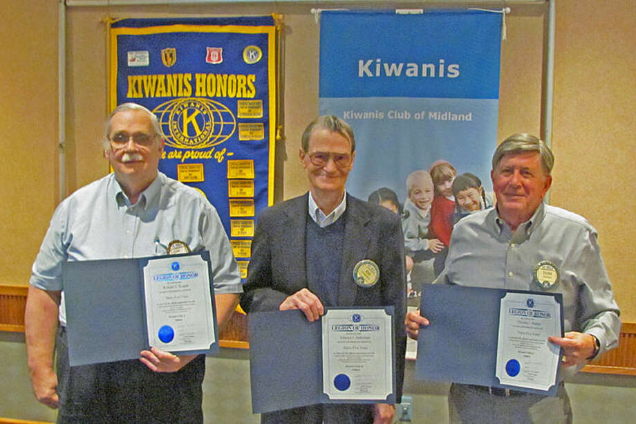 Richard Kopple, Edward Suderman and Thomas Madden receive their Legion of Honor Awards. Missing from the photo are Richard Caldwell and Leroy Hampton. Photo: Photo Provided