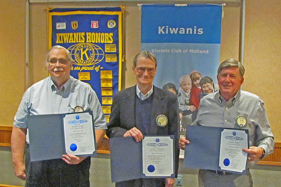 Richard Kopple, Edward Suderman and Thomas Madden receive their Legion of Honor Awards. Missing from the photo are Richard Caldwell and Leroy Hampton. Photo: Photo Provided