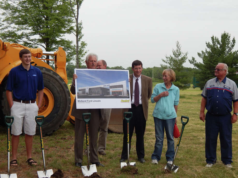 Midland Ford-Lincoln broke ground on June 20 at the site where it will construct a facility to house its new and pre-owned sales divisions, as well as a new service center. The 17.5-acre property at 520 Joe Mann Blvd. will include a 46,780-square-foot main building with entrances off of Joe Mann, Ted Doan Drive and Alan Ott Drive. Pictured at the ground breaking, from left, are Blake Wilson (Midland Ford), Jim Wilson (Midland Ford), Greg Turner (Pumford Construction), Chad Wilson (Midland Ford), Janet Carlsen (original property owner, widow of Dr. Don Carlsen), and DeWayne Cassiday (44-year employee of Midland Ford)