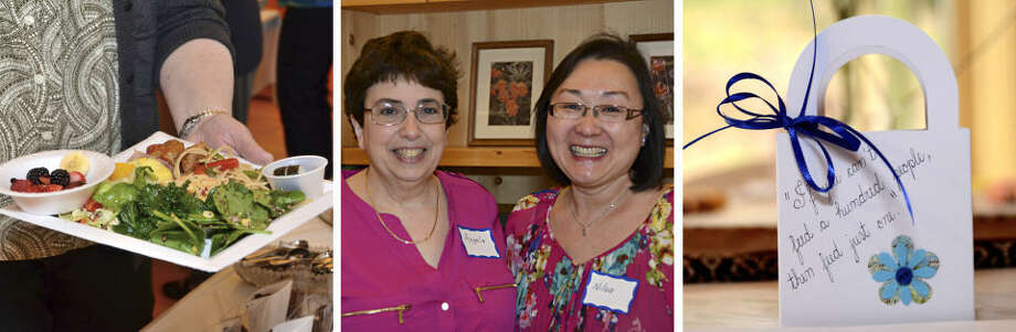"""Photos from the """"food ladies"""" recent fundraiser that featured food, friends and fellowship. Nilsa Braganca, center right, is one of the co-hostesses for the event. The other is Mien Nguyen-Ahrns."""