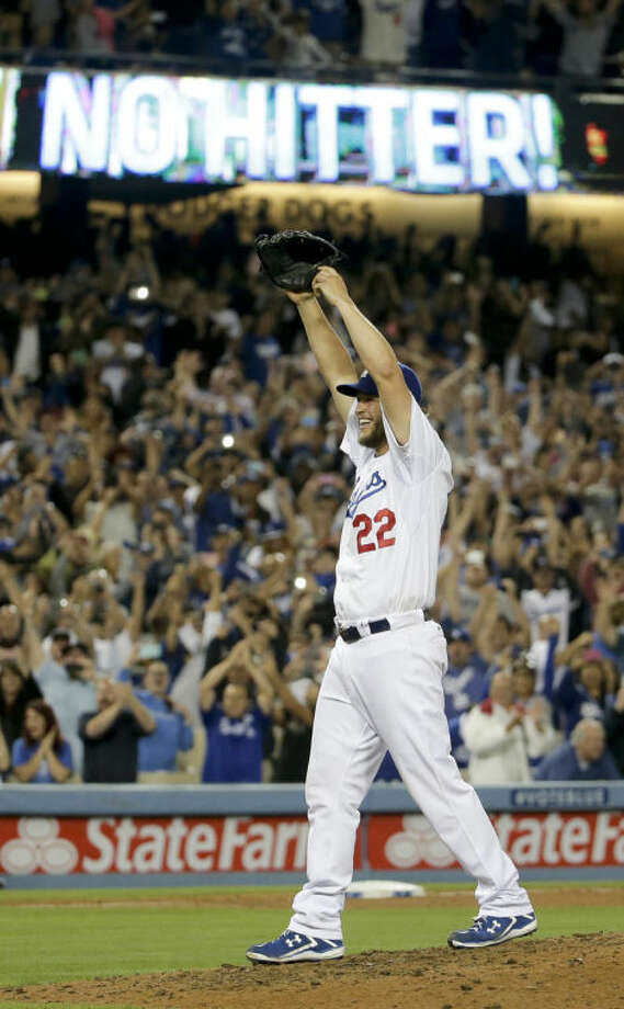 Los Angeles Dodgers starting pitcher Clayton Kershaw celebrates his no hitter against the Colorado Rockies after a baseball game in Los Angeles, Wednesday. Kershaw struck out a career-high 15 batters. Photo: AP Photo   Chris Carlson