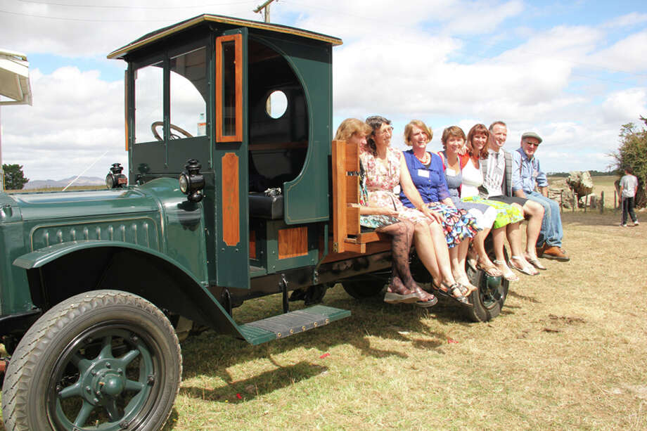 The Somervell siblings today with Old Truck. Left to right; Inez, Catherine, Jennifer, Jane, Margery, Peter and John. Brother Michael is deceased and sister Elizabeth was absent. Photo: Kate Rivett-Taylor