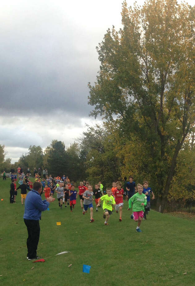 The fourth grade boys race in the Midland elementary Fun Run. Photo: Photo Provided
