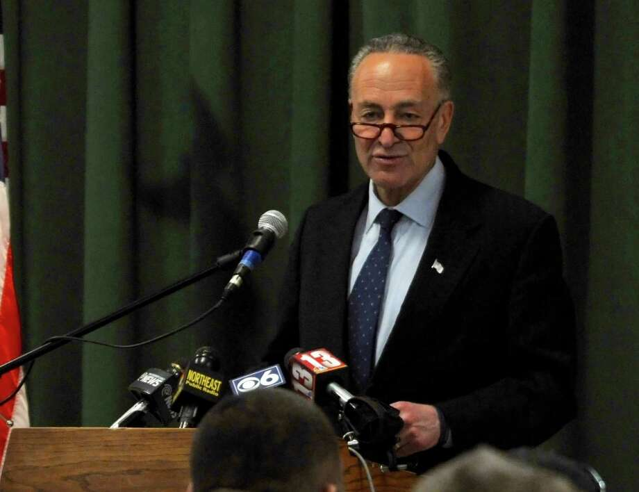 U.S. Senator Charles E. Schumer speaks during a press conference on Monday, March 21, 2016, at Wildwood Center, Rotterdam, NY. Sen. Schumer announced the Disability Integration Act, a bill proposed by Schumer that would allow families with disabled member the affordable choice for the member to stay home rather than go to an institution.  (Brittany Gregory / Special to the Times Union) Photo: Brittany Gregory / 10035901A