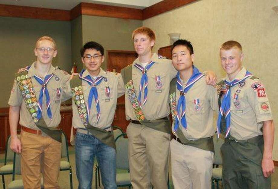 Pictured, from left, are Matthew Brennan, Vinson Chu, Nolan Hitt, Nathan Hull and Nicholas Berchert. Photo: Photo Provided