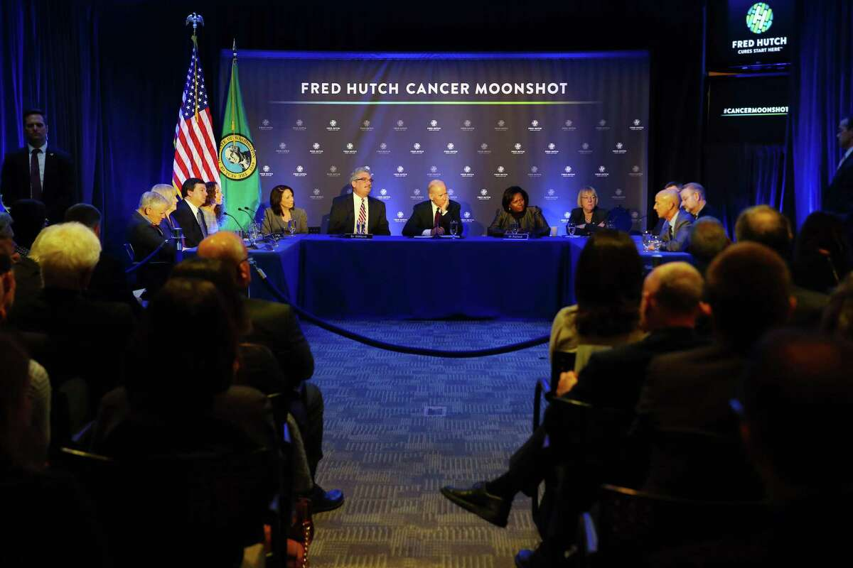 Vice President Joe Biden leads a panel discussion on the cancer moonshot with local doctors and cancer researchers at Fred Hutchinson Cancer Research Center, Monday, March 21, 2016.