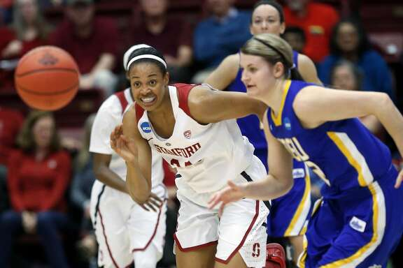 Stanford's Erica McCall and South Dakota State's Macy Miller chase loose ball in 2nd quarter during 2016 NCAA Division 1 Women's Basketball Tournament game in Stanford, Calif., on Monday, March 21, 2016.