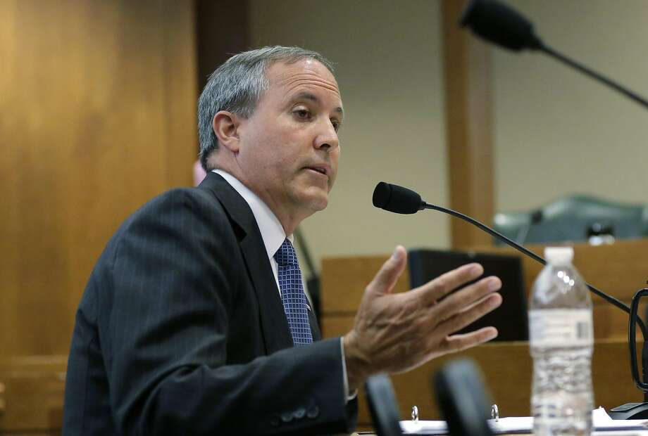 FILE - In this July 29, 2015 file photo, Texas Attorney General Ken Paxton speaks during a hearing in Austin, Texas. Already indicted on felony securities fraud charges, Paxton will face an ethics investigation for advising local officials they could refuse to issue same-sex marriage licenses on religious grounds. (AP Photo/Eric Gay) Photo: Eric Gay, Associated Press