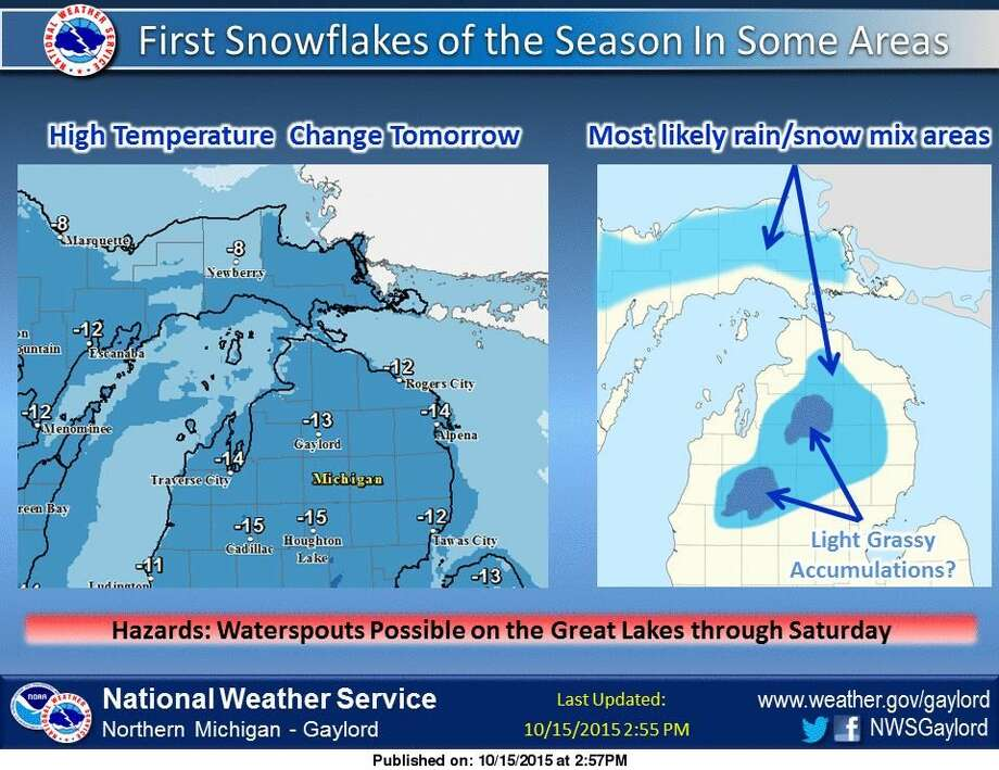 Some light snow accumulations are possible on grassy surfaces in northern Michigan across the higher terrain especially Friday night into early Saturday, says the National Weather Service in Gaylord. Photo: National Weather Service, Gaylord