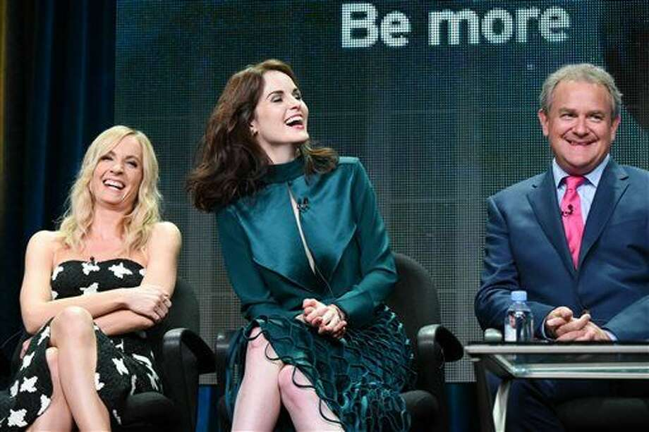 "From left, actors Joanne Froggatt, Michelle Dockery and Hugh Bonneville speak onstage during the ""Downton Abbey"" panel at the PBS 2015 Summer TCA Tour in Beverly Hills, Calif. The final season of the popular British drama ""Downton Abbey"" will begin on Jan. 3, 2016, leading up to a finale on the first weekend of March, PBS announced today. Photo: Richard Shotwell 