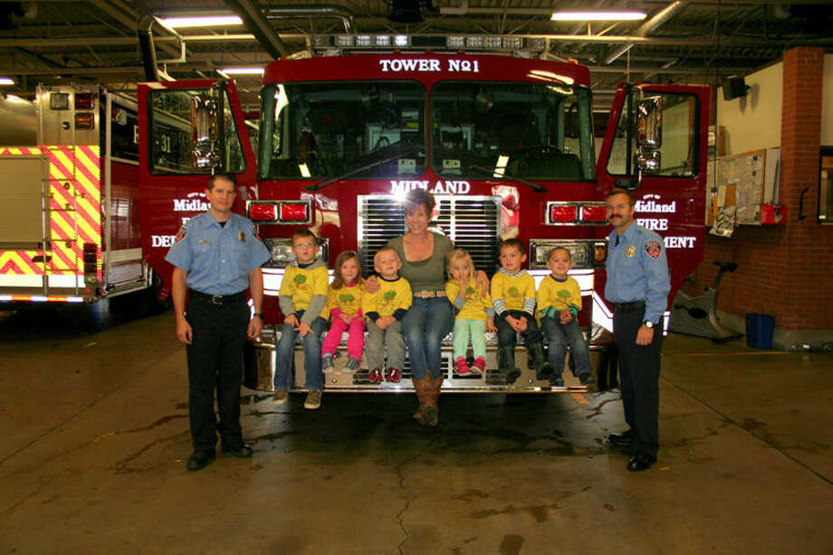 The children from Apple Tree Preschool & Child Care of Bullock Creek visited firefighters at one of the City of Midland's fire stations. Photo: Photo Provided