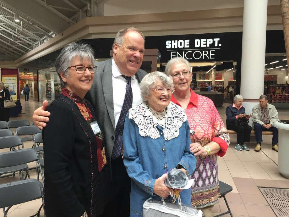 Senior Expo talent show winner Betty King with judges Carol Rumba, Wally Mayton and Judy Meno. Photo: Photo Provided
