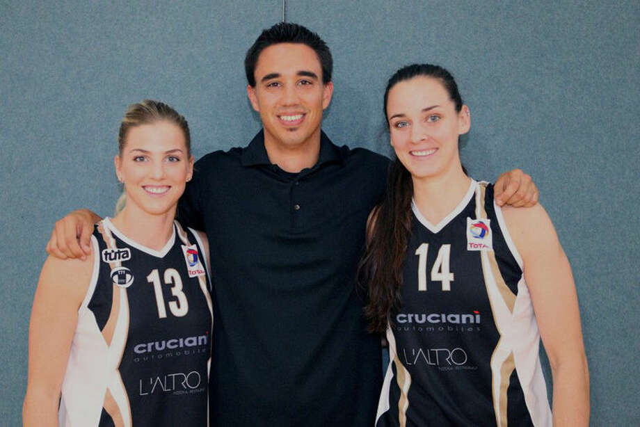 Dow High alum Jessica Schroll (right) poses with members of her current team, T71, based in Dudelange, Luxembourg. At left is her teammate Stefanie Yderstrom, and in the center is T71 coach Thierry Kremer. Photo: Photo Provided