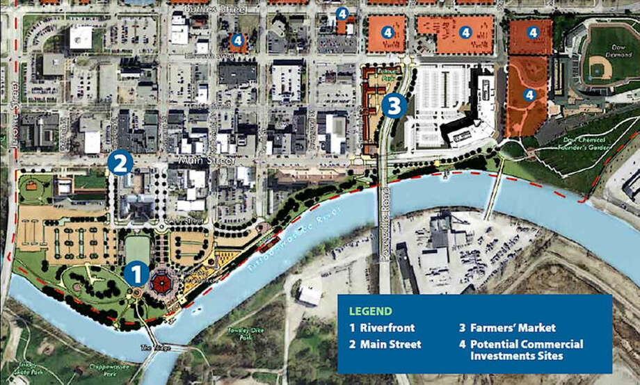 This graphic shows the proposed Farmers Market location on Main Street in Midland.