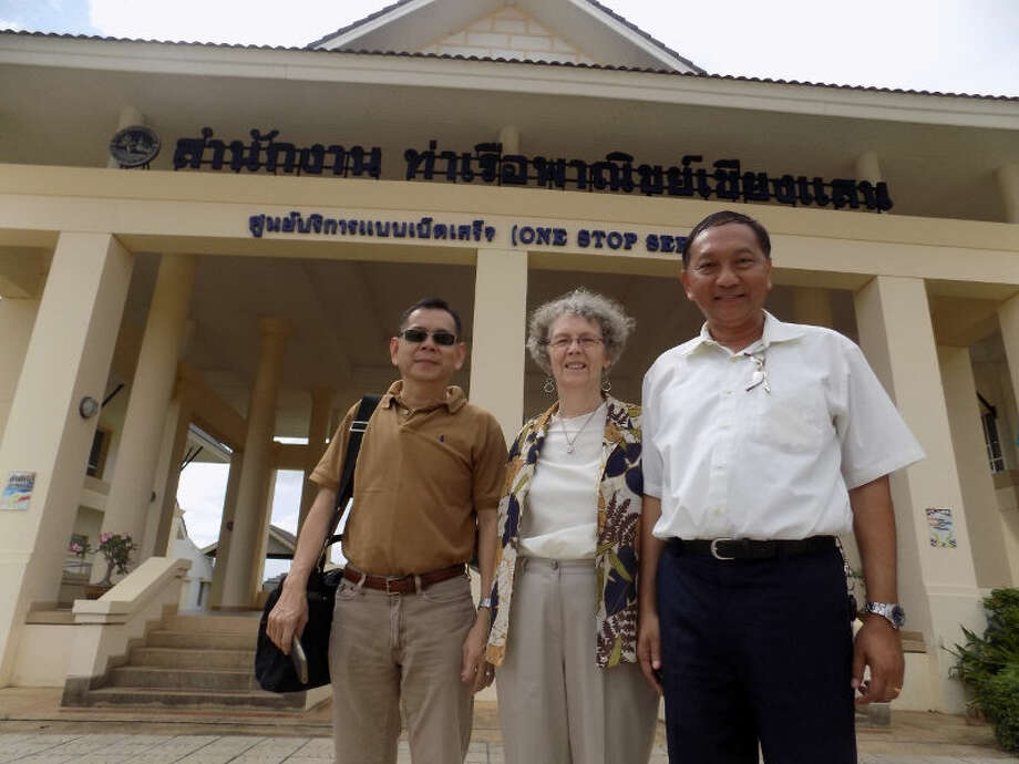 Officials from the Mekong River Commission,left, and the Port Authority after Peace Fellow meetings with each organization