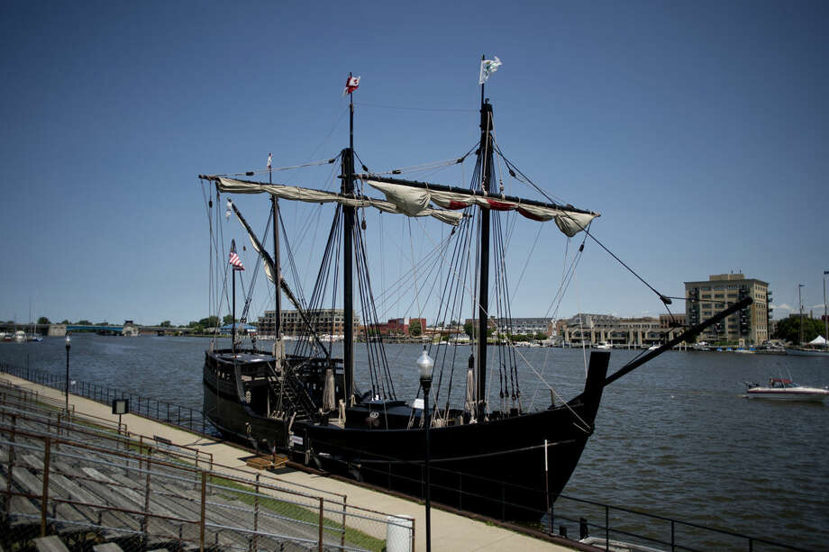 The Pinta, a replica of the ship that was on Christopher Columbus' voyage to the Americas in 1492, is docked at Veterans Memorial Park in Bay City. The ship, and its sister ship, the Niña, will be open to the public for tour through Sunday. Photo: Neil Blake | Nblake@mdn.net