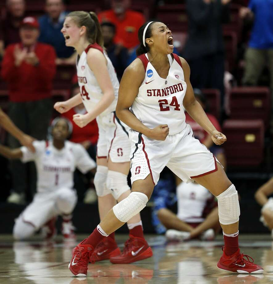Stanford's Erica McCall (24) and Karlie Samuelson celebrate Lili Thompson's basket and subsequent go-ahead free throw in final seconds of Stanford's 66-65 win over South Dakota State in 2016 NCAA Division 1 Women's Basketball Tournament game in Stanford, Calif., on Monday, March 21, 2016. Photo: Scott Strazzante, The Chronicle