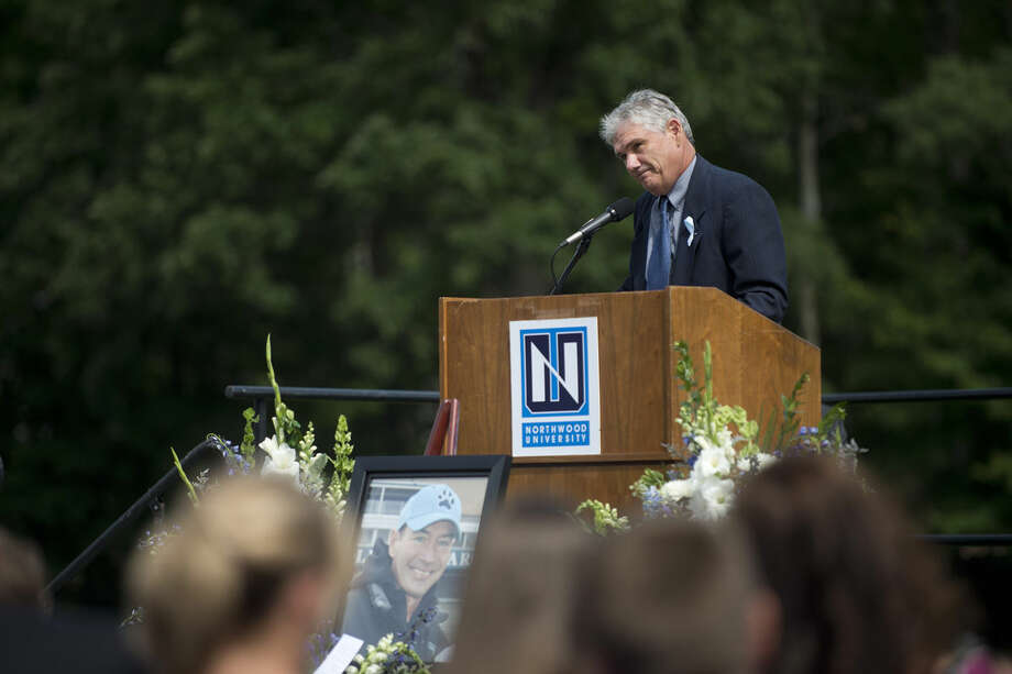 Michael Riepma talks about the coaching skills of his brother, Pat Riepma, during Pat's funeral at Northwood University's Hantz Stadium Wednesday afternoon. Photo: BRITTNEY LOHMILLER | Blohmiller@mdn.net