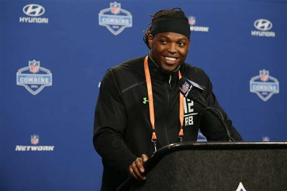 Alabama running back Derrick Henry speaks during a press conference at the NFL football scouting combine in Indianapolis, Wednesday, Feb. 24, 2016. (AP Photo/Michael Conroy) Photo: Michael Conroy