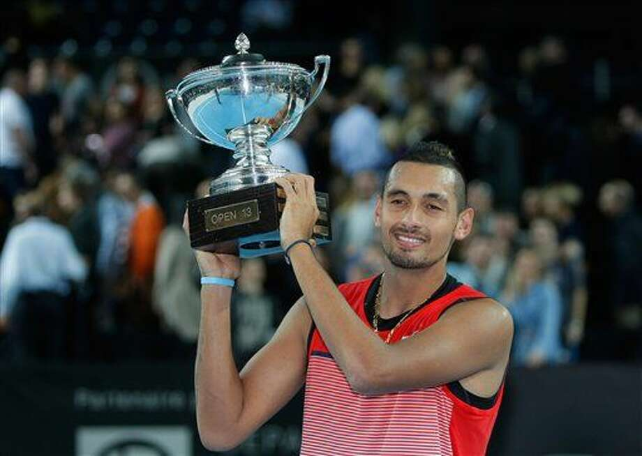 Nick Kyrgios of Australia holds his trophy after defeating Marin Cilic of Croatia, during their final match, at the Open 13 Provence tennis tournament, in Marseille, southern France, Sunday Feb. 21, 2016. (AP Photo/Claude Paris) Photo: Claude Paris