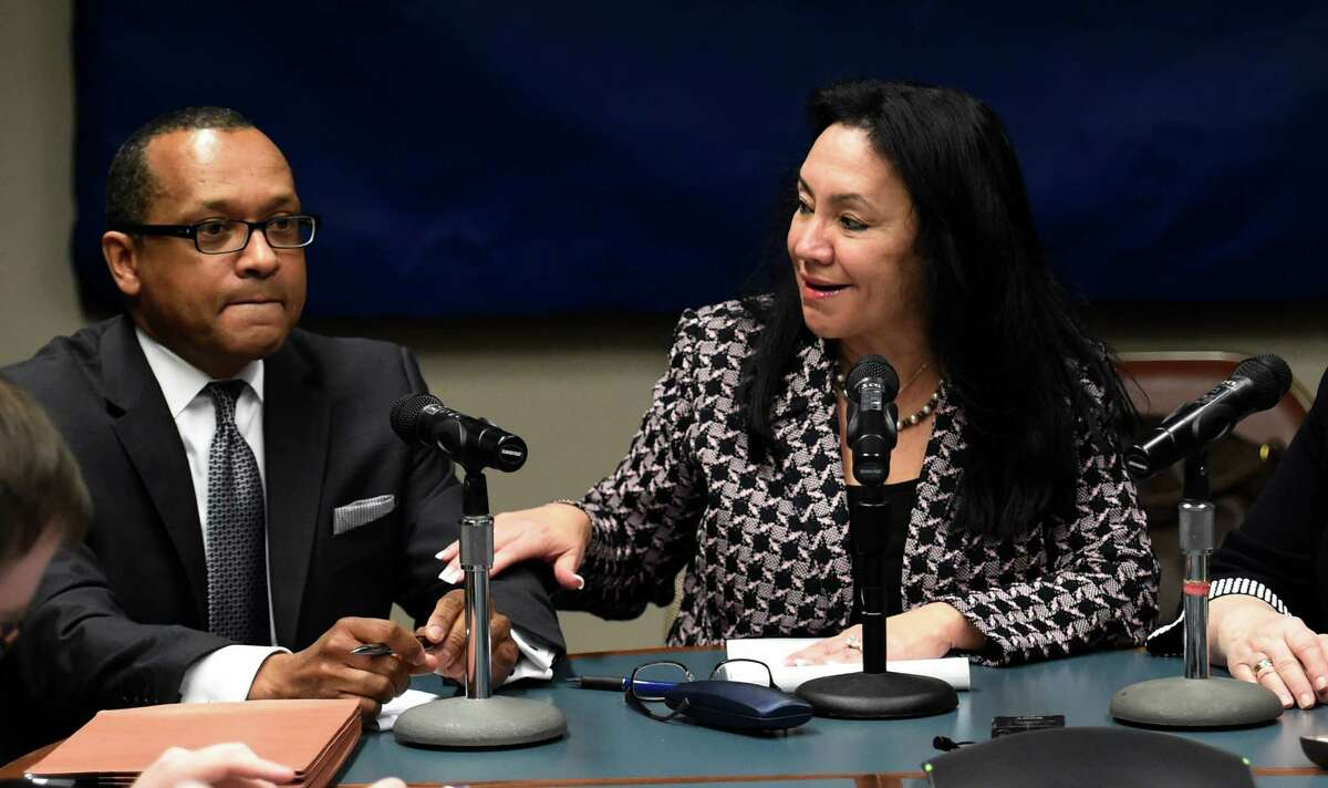 Betty Rosa, right, speaks with Andrew Brown after their election to the position of Chancellor and Vice Chancellor respectively of the New York State Board of Regents on Monday morning, March 21, 2016, during a meeting held at the Education Department building in Albany, N.Y. (Skip Dickstein/Times Union)
