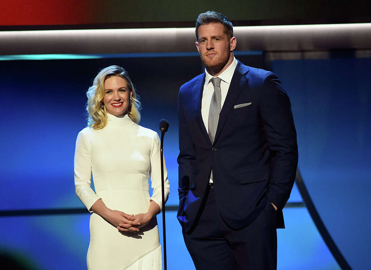 SAN FRANCISCO, CA - FEBRUARY 06: Actress January Jones (L) and NFL player J. J. Watt speak onstage during the 5th Annual NFL Honors at Bill Graham Civic Auditorium on February 6, 2016 in San Francisco, California.