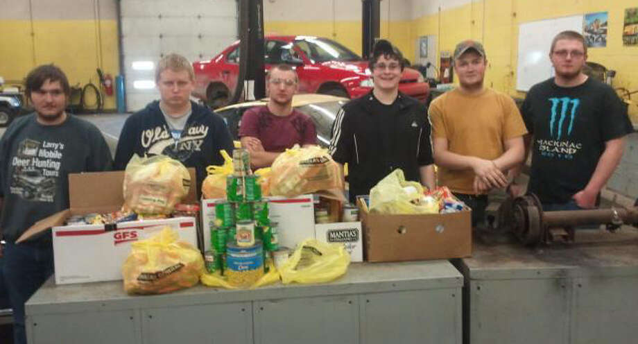 Photo providedThe Automotive Technology class collected the most items during the CTE food drive. Auto tech students, pictured from the left, are Lyle Coats of Gladwin, David Lewis of Gladwin, Ryan Rybkowski of Beaverton, Joe Cousineau of Beaverton, James Hollon of Gladwin and Dustin Easlick of Gladwin.