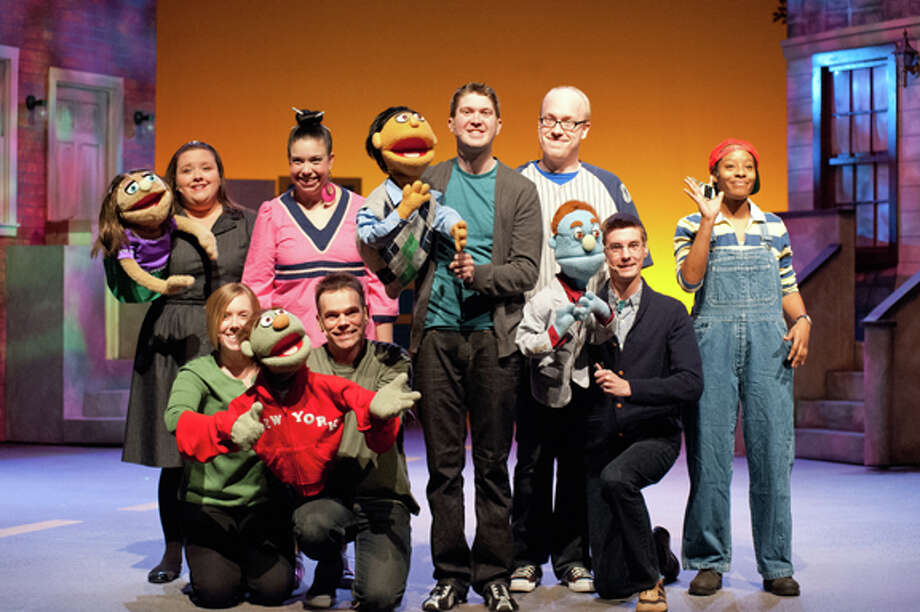 STEVEN SIMPKINS/Daily News Back row: Heidi Bethune as Kate Monster, Cara Baker as Christmas Eve, Andrew Southwell as Princeton, Robert Sandoval as Brian and Stevie Mattos as Gary Coleman. Front row: Kyle Bagnall as Nicky - assisted by Katie Hicks and Adam Gardner as Rod.