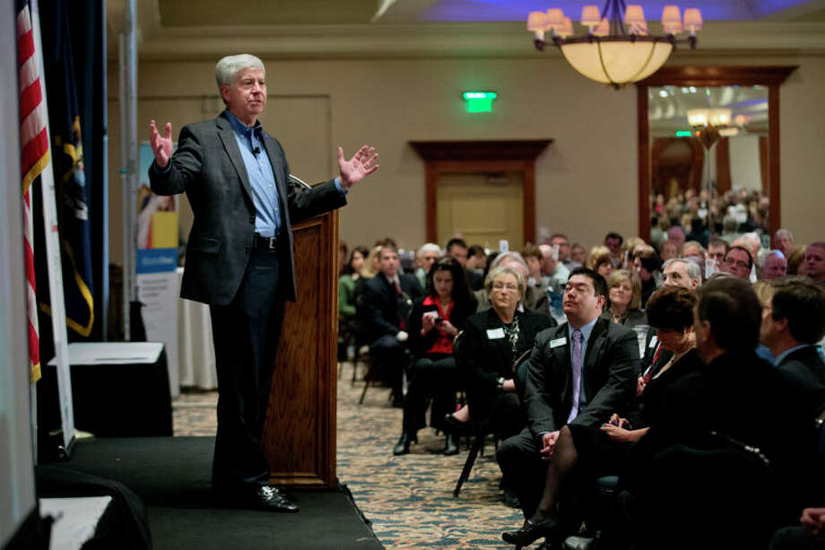NICK KING | nking@mdn.netGov. Rick Snyder speaks during the Midland Area Chamber of Commerce's 74th annual meeting and awards breakfast Thursday at the Great Hall Banquet and Convention Center in Midland. Photo: Nick King/Midland  Daily News / Midland Daily News