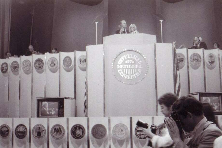 Photo providedGerald Ford and Ranny Riecker at the podium at the National Republican Convention in 1972.