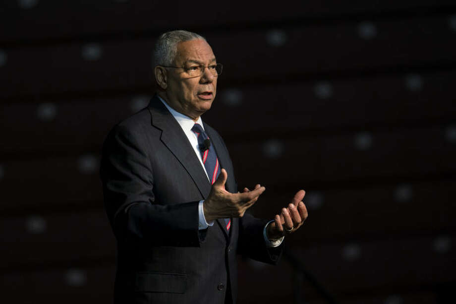 NEIL BLAKE | nblake@mdn.netGen. Colin Powell speaks at the McGuirk Arena at Central Michigan University on Thursday. Gen. Powell was the keynote speaker for CMU's Martin Luther King Jr. Celebration Week.