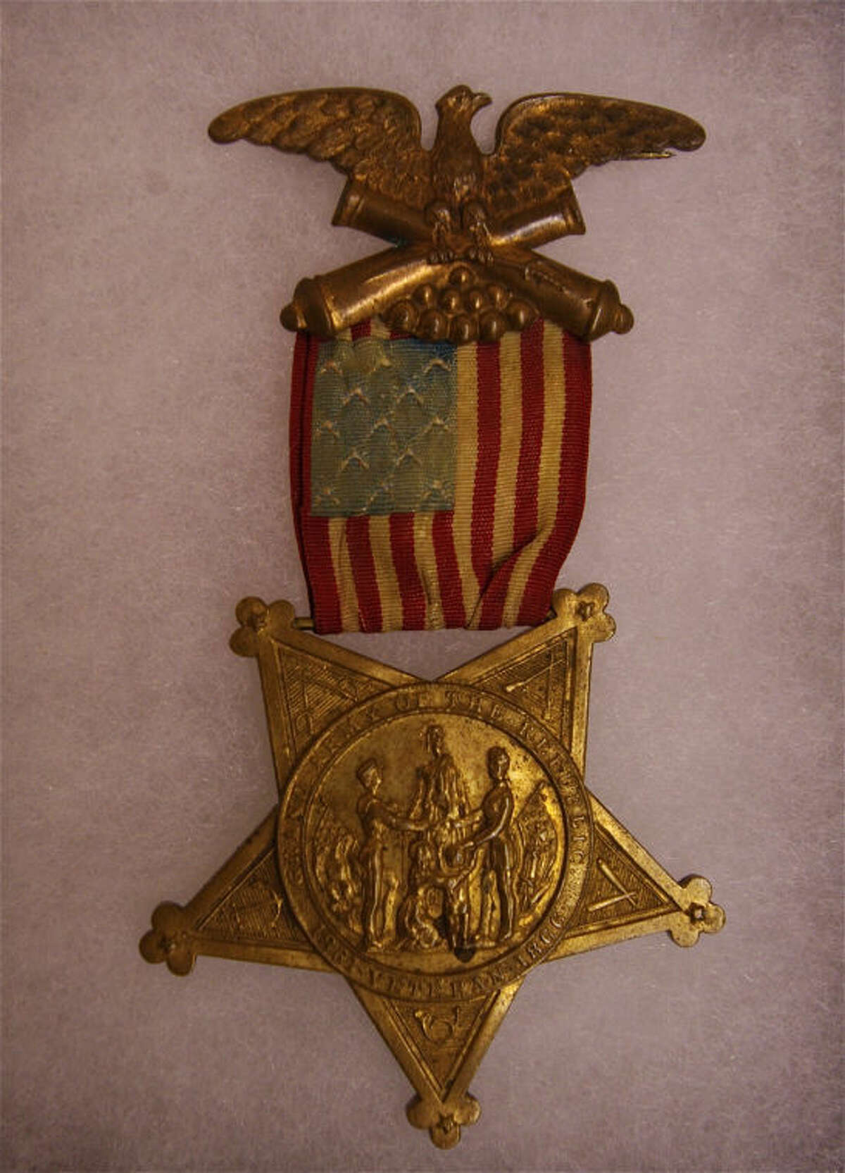 Stuart Frohm | for the Daily NewsA Midland resident is loaning this Grand Army of the Republic membership badge to the Midland County Historical Society for a Civil War exhibit. The Grand Army of the Republic had posts in Midland County.