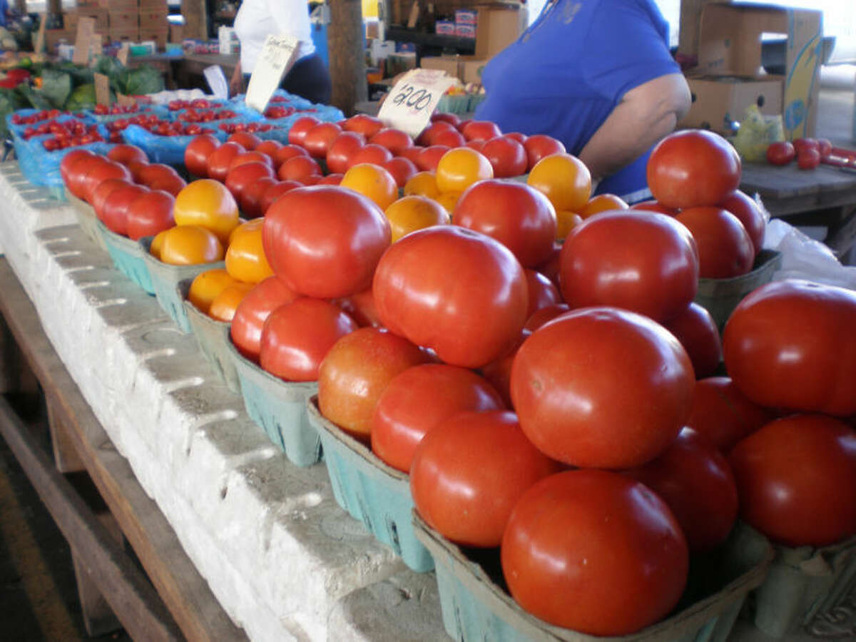 Cindy Warrick | for the Daily NewsLarge fresh beef steak tomatoes are seen in the farmer's market area in Webster. Every type of produce imaginable can be found on Mondays at the farmer's market, where it is important to shop early or you might miss out.