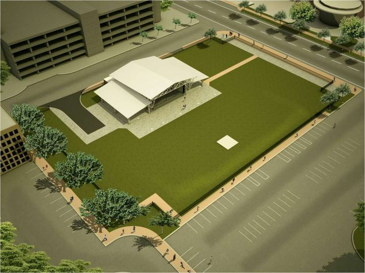 An artist's rendition of the outdoor event area and pavilion.