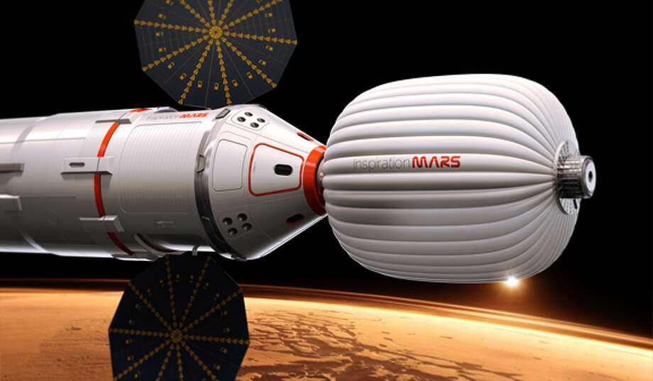 "A drawing provided by Inspiration Mars shows an artist's conception of a spacecraft envisioned by the private group, which wants to send a married couple on a mission to fly by the red planet and zip back home, beginning in 2018. The nonprofit ""Inspiration Mars"" will get initial money from multimillionaire Dennis Tito, the first space tourist. Outsiders put the price tag at more than $1 billion. The mission, announced Wednesday, Feb. 27, 2013, would last more than 16 months. (AP Photo/Inspiration Mars) Photo: HOEP / Inspiration Mars"