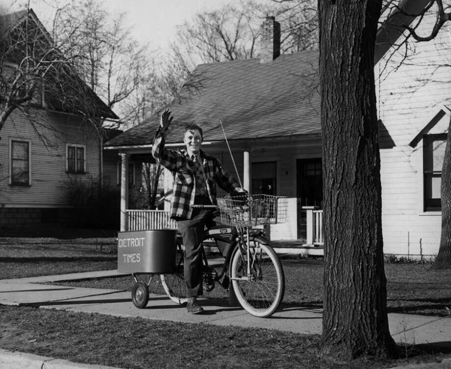 "Photo providedBrady News owner, Eugene ""Gene"" Brady delivering newspapers during the 1940s."