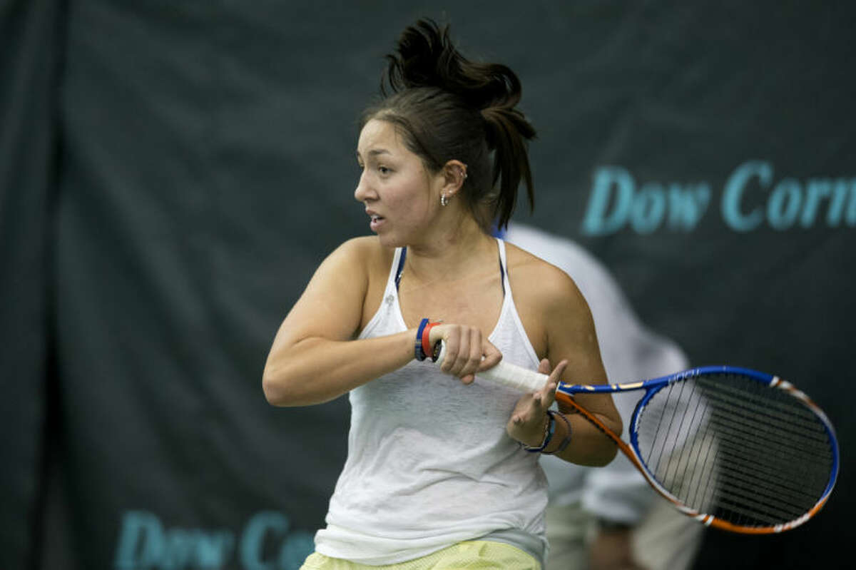 NEIL BLAKE | nblake@mdn.netUnited State's Jessica Pegula hits the ball during her match against Hungary's Melinda Czink in the Dow Corning Tennis Classic on Thursday. Pegula won 6-4, 6-4.
