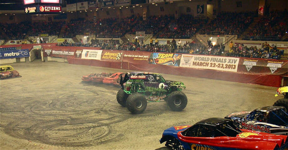 STUART FROHM for the Daily NewsGrave Digger, a popular monster truck, performs in the doughnut event during the Saturday afternoon Monster Jam show at the Dow Event Center in Saginaw. Six monster trucks participated in the Friday and Saturday shows.