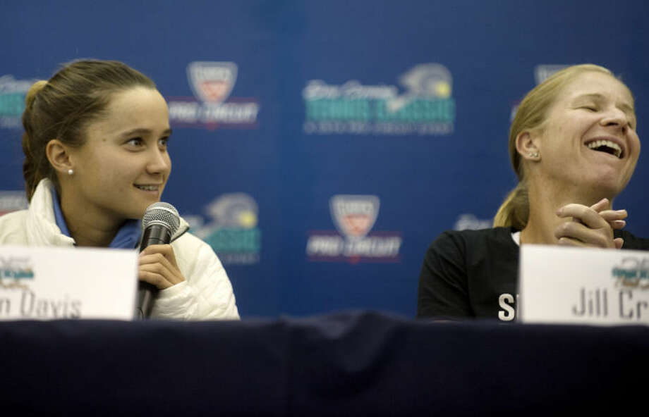 NICK KING | nking@mdn.netTennis pros Lauren Davis, left, and Jill Craybas participate in a Dow Corning Tennis Classic press conference Monday at the Midland Tennis Center. Photo: Nick King/Midland  Daily News