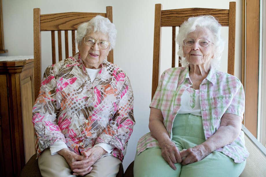 Mildred Goodman, left, and Ruth Kramer, both turned 100 this year. Photo: Neil Blake/Midland  Daily News / Midland Daily News