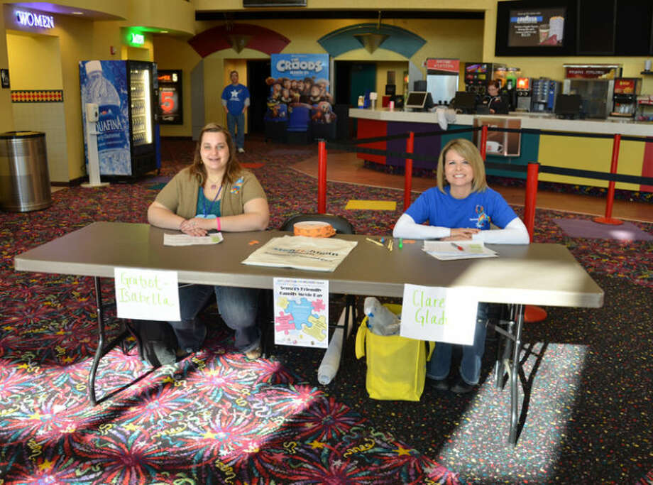 Photo providedGratiot-Isabella Great Start Parent Liaison Jennifer Peska (left) and Clare-Gladwin Great Start Parent Liaison Rachel Haltiner (right) greeted families attending the Sensory Friendly Family Movie Day in the lobby of the Mount Pleasant Celebration Cinema.