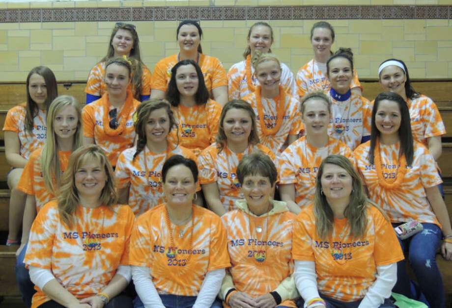 Left to Right, front row are: Assistant Coach Bensch, Coach Ignatowski, Marilyn Ignatowski, Assistant Coach Lori Monville, Second Row: Hannah White, Makenzie MacDonald, Taylor Cramer, Ashley Herman, Landry Short, Third Row: Robyn Elsen, Zoe Manary, Carly Barber, Dashia Miller, Taylor Seipke, Brehanna Wontorcik, Forth Row: Bailey Jones, Zoe Stirn, Katelyn Woods and Juli LaRose.