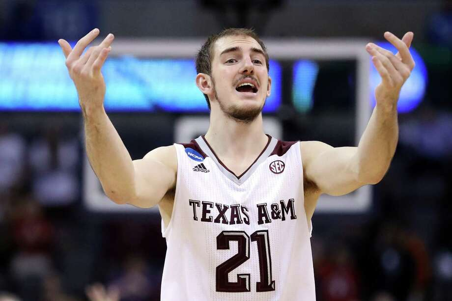 Alex Caruso of the Texas A&M Aggies reacts against the Northern Iowa Panthers during the second round of the NCAA Tournament at Chesapeake Energy Arena on March 20, 2016, in Oklahoma City. Photo: Ronald Martinez /Getty Images / 2016 Getty Images