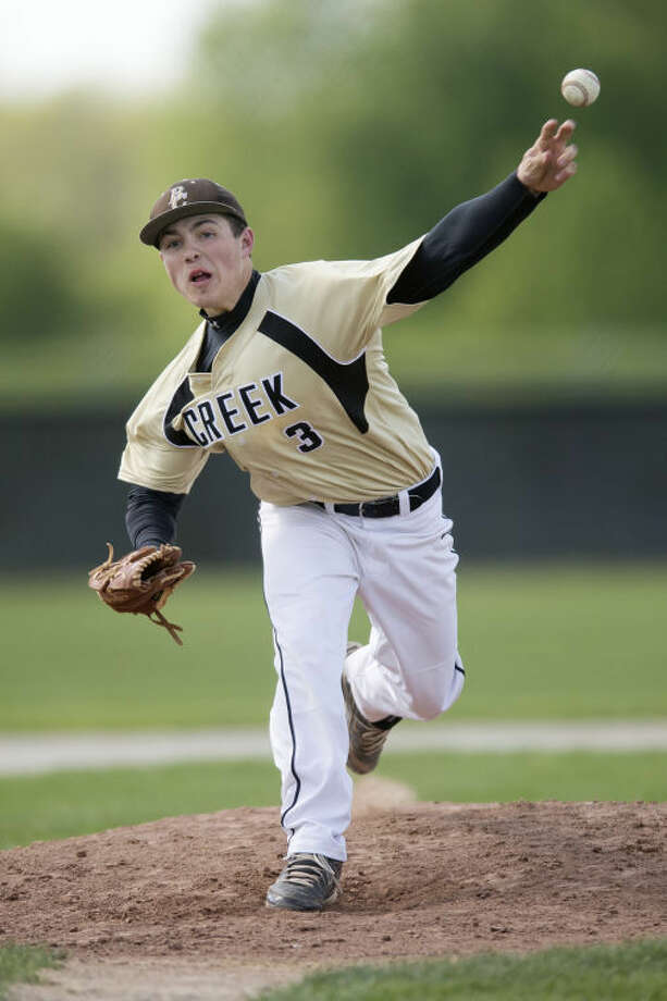 NEIL BLAKE | nblake@mdn.netBullock Creek's Keegan Akin throws a pitch against a Shepherd batter during a doubleheader at Bullock Creek High School on Monday. Photo: Neil Blake/Midland  Daily News