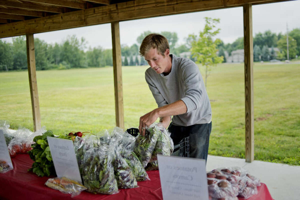 NICK KING | nking@mdn.netFred Monroe, of Alma, places produce on tables for customers during the Monroe Family Organics' Community Supported Agriculture food drop off Wednesday at Eagle Ridge Church in Midland.