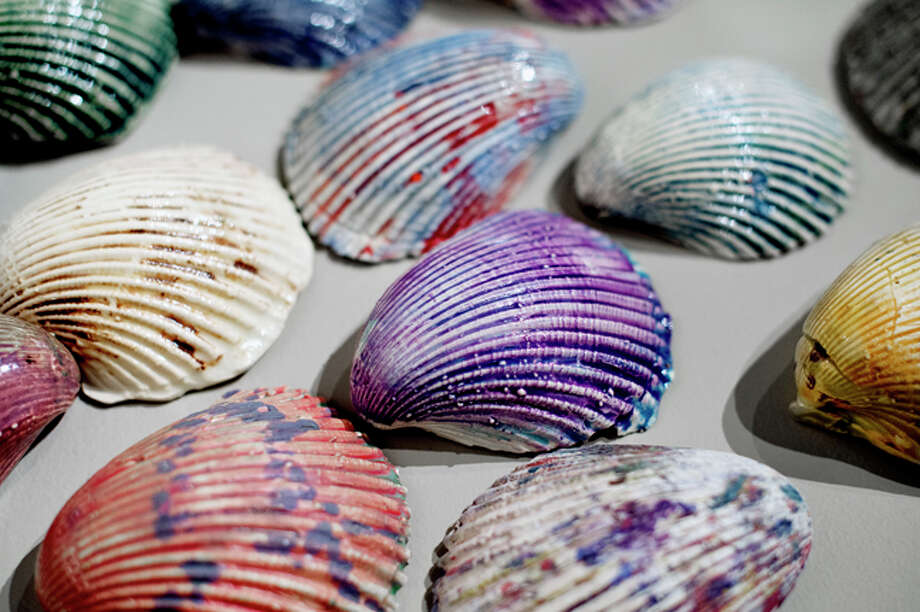 "NICK KING | nking@mdn.net A piece titled ""Palm City, Florida"" is on display as part of the Ultrabrication: The Art of Randal Crawford exhibit at the Saginaw Art Museum. The piece is made up of painted shells. Photo: Nick King/Midland  Daily News / Midland Daily News"