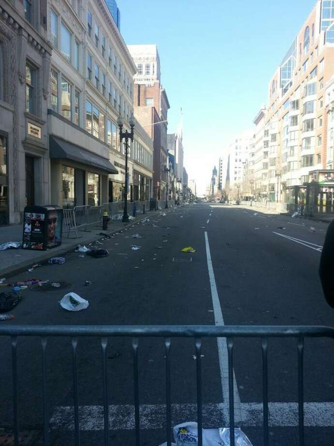 The finish line area of the Boston Marathon is shown Tuesday morning, in the aftermath of Monday's two explosions that killed three people and injured many others. Gary Spilman of Midland, who was one of several area runners who ran the marathon, took the photo