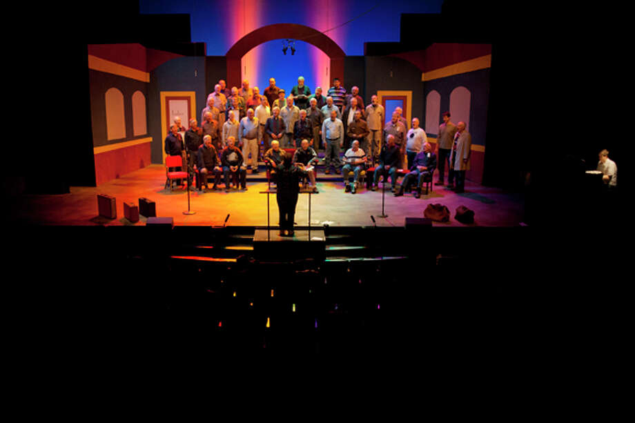 "JEFFREY SMITH | for the Daily News The Men of Music rehearse ""Murder, He Wrote"" Tuesday evening at the Midland Center for the Arts Little Theatre."